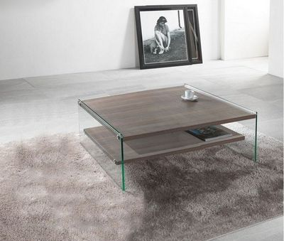 WHITE LABEL - Table basse carrée-WHITE LABEL-Table basse BELLA 2 plateaux noyer avec piétement
