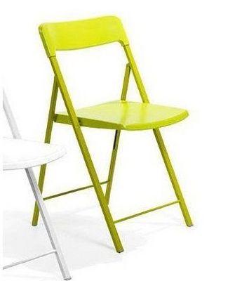 WHITE LABEL - Chaise pliante-WHITE LABEL-Lot de 2 chaises pliantes KULLY en plastique verte