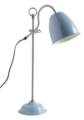 Aubry-Gaspard - Lampe � poser-Aubry-Gaspard-Lampe de bureau en m�tal laqu� bleu Bleu