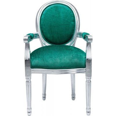 Kare Design - Chaise-Kare Design-Fauteuil Baroque Louis Silver Leaf turquoise