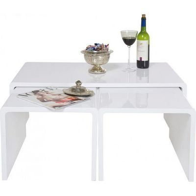 Kare Design - Table basse rectangulaire-Kare Design-Table de salon Shiny White (3/set)