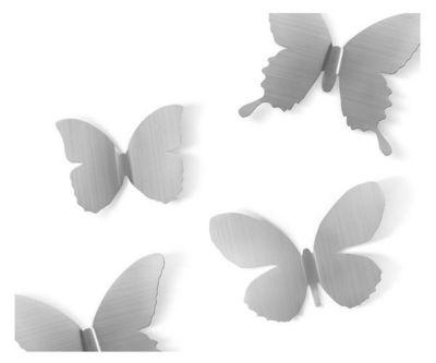 Umbra - D�coration murale-Umbra-D�co murale Papillons m�tal (Lot de 9) Nickel