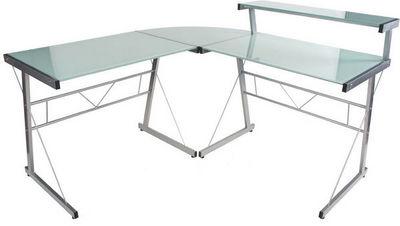 KOKOON DESIGN - Bureau-KOKOON DESIGN-Bureau d'angle design Delo Verre blanc