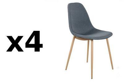 WHITE LABEL - Chaise-WHITE LABEL-Lot de 4 chaises STOCKHOLM design scandinave tissu