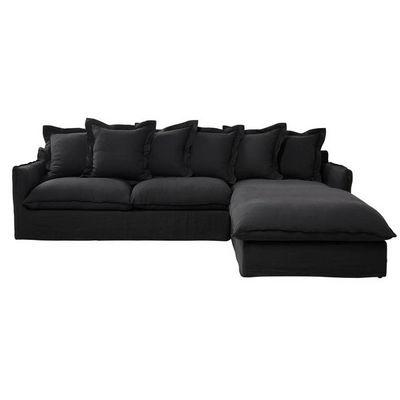 canap d 39 angle droit 7 places en lin lav anthracite. Black Bedroom Furniture Sets. Home Design Ideas