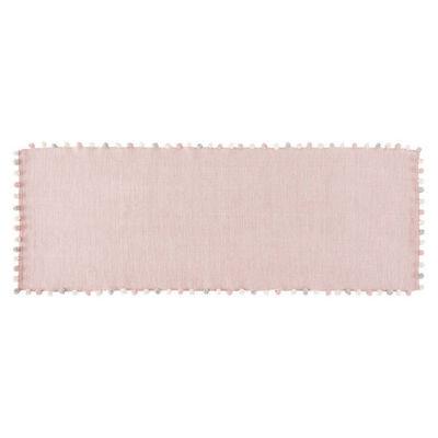 tapis pompons en coton rose 80x200tapis enfant rose. Black Bedroom Furniture Sets. Home Design Ideas