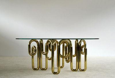 FURNITURE-LOVE.COM - Table de repas rectangulaire-FURNITURE-LOVE.COM-Tubular sculptural brass dinning table