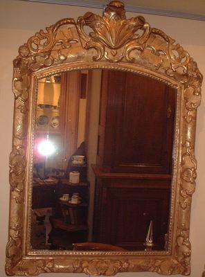 Antiquités La Botte Dorée - Miroir-Antiquités La Botte Dorée-Glace bois doré