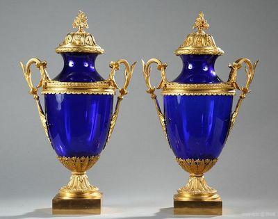 Galerie Atena - Paire de Cassolettes-Galerie Atena-vases en verre