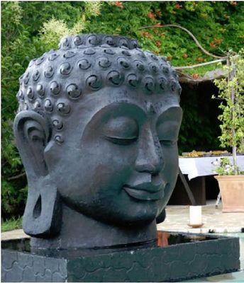 MEMOIRE DES ORIGINES - Fontaine centrale d'extérieur-MEMOIRE DES ORIGINES-Buddha Head