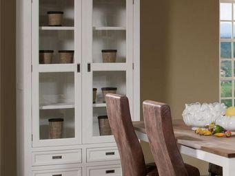 WHITE LABEL - vaisselier 2 portes 4 tiroirs - rio - l 124 x l 48 - China Cabinet