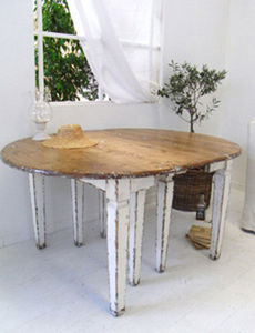 BLEU PROVENCE - vintage white - Extending Leaf Table