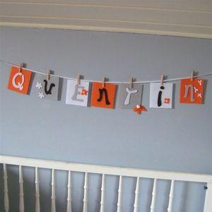 LITTLE BOHEME - guirlande prénom mandarine et gris - Festoon Children