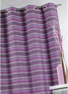 HOMEMAISON.COM - rideau ameublement en jacquard à fines rayures - Eyelet Curtain