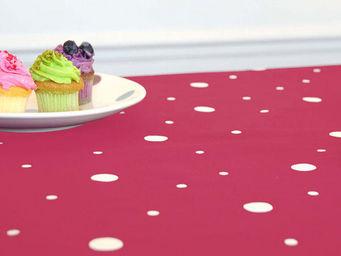 FLEUR DE SOLEIL - nappe enduite pois gris fuchsia 160x160 - Coated Tablecloth