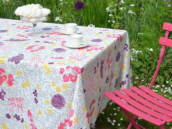 FLEUR DE SOLEIL - nappe enduite mimosa parme 160x160 - Coated Tablecloth
