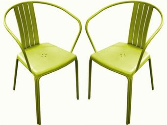 PROLOISIRS - fauteuil empilable azuro en aluminium lime (par 2) - Garden Chair