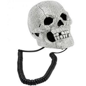 Present Time - téléphone tête de mort strass - Decorative Telephone