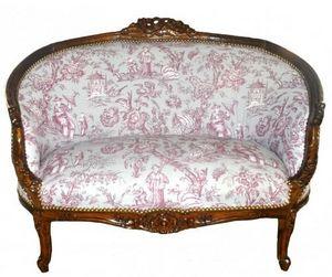 Demeure et Jardin - banquette loveuse toile de jouy violette sur fond  - 2 Seater Sofa