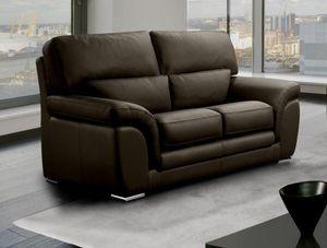 WHITE LABEL - cloe canapé 2 places marron en cuir recyclé - 2 Seater Sofa