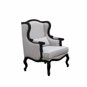 Interior's - fauteuil césarine tissu rayé - Wingchair With Head Rest