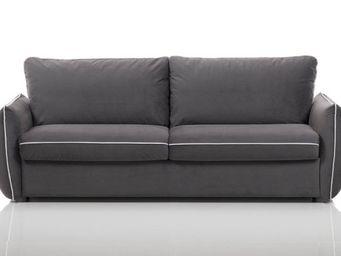 WHITE LABEL - canapé fixe linus 2 places en microfibre gris - 2 Seater Sofa