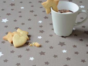 FLEUR DE SOLEIL - etoiles taupe - Coated Tablecloth