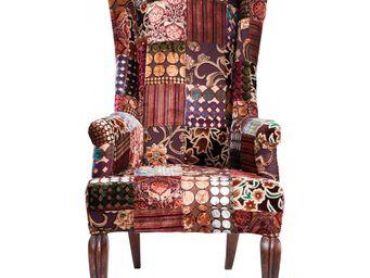 Kare Design - fauteuil patchwork velvet marron - Armchair