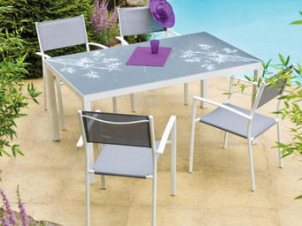 Imagin - salon bambou 1 table + 4 fauteuils - Outdoor Dining Room