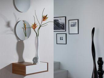 WHITE LABEL - meuble d\'entrée noyer + miroir - scopa - l 47 x -
