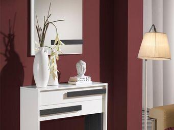 WHITE LABEL - meuble d\'entrée blanc/cendre + miroir - izmere - -
