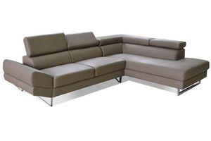 WHITE LABEL - canapé d'angle droite fixe venise cuir éco taupe - Adjustable Sofa
