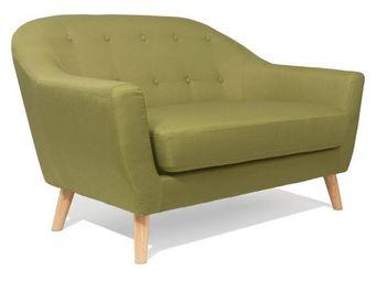 WHITE LABEL - canapé scandinave utmärkt 2 places vert lime - 2 Seater Sofa