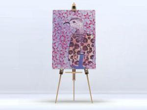 la Magie dans l'Image - toile mon petit oiseau fond mauve - Digital Wall Coverings