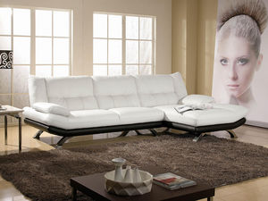 WHITE LABEL - canapé cuir angle miranda - Adjustable Sofa