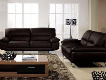 WHITE LABEL - canapé cuir 2 places eva - 2 Seater Sofa