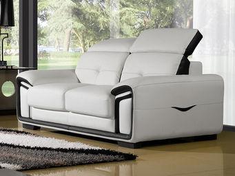 WHITE LABEL - canapé cuir 2 places hamilton - 2 Seater Sofa