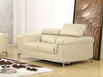 WHITE LABEL - canapé cuir 2 places rania - 2 Seater Sofa