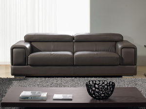 WHITE LABEL - canapé cuir 3 places lima - 3 Seater Sofa