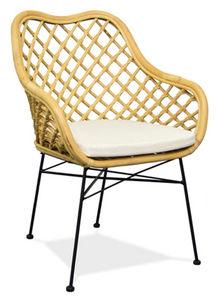 Aubry-Gaspard - fauteuil en rotin naturel et métal - Armchair