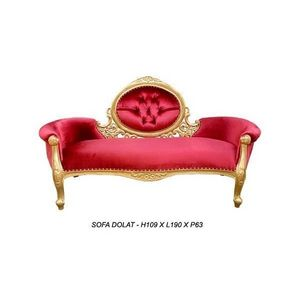 DECO PRIVE - meridienne baroque doree et velours rouge modele d - 2 Seater Sofa