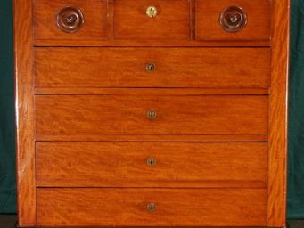 ANTIQUE GERMAIN - commode anglaise en acajou de cuba mouchete - Chest Of Drawers