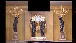 Abj Cheminees Anciennes - pendule et paire de candélabres, bronze doré, marb - Chimney Mantlepiece