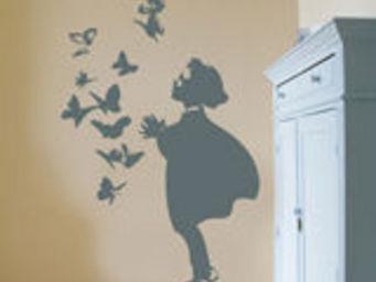 ApplePie Design - girl and butterflys - Children's Decorative Sticker