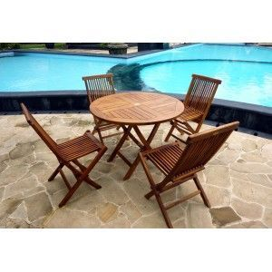 wood-en-stock - salon pliable de jardin en teck huilé : grande sun - Round Garden Table