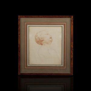 Expertissim - ecole francaise du xixe siècle. sanguine tête d'e - Sanguine Painting