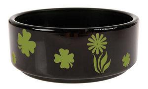 ZOLUX - écuelle en verre fleurie noire et anis 12cm - Pet Dish