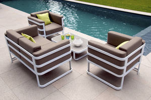 RESIDENCE - salon de jardin 4 places cap code en aluminium bla - Garden Furniture Set