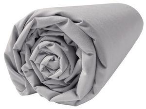 BLANC CERISE - drap housse - percale (80 fils/cm²) - uni gris per - Fitted Sheet