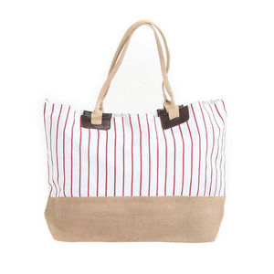WHITE LABEL - grand sac cabas à rayures pochette unie fond rayé - Beach Bag